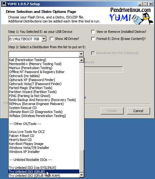 Creating a YUMI multi boot usb stick with Macrium Reflect